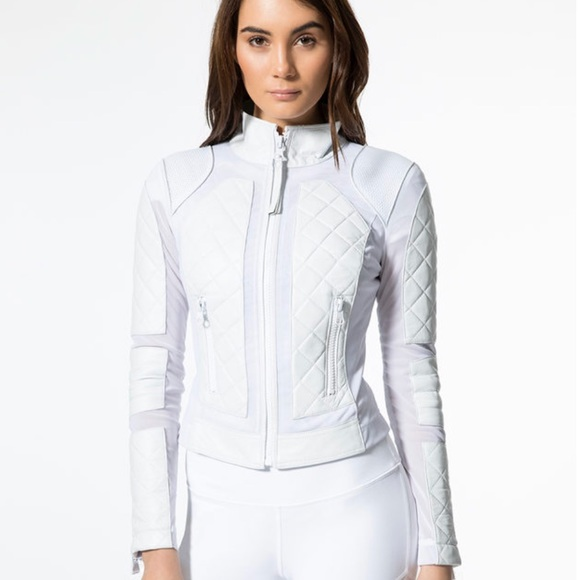 c79103b5ac91 NWT Blanc Noir Leather and Mesh Moto in White